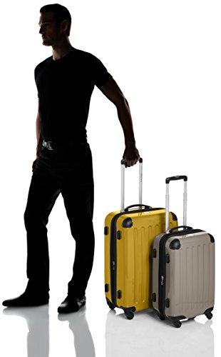 HAUPTSTADTKOFFER - Alex - 2er Koffer-Set Hartschale glänzend, TSA, 65 cm + 55 cm, 74 Liter + 42 Liter, Orange-Aubergine Gelb-Champagner