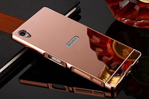 Fashion Cases Estuyoya - Hülle kompatibel mit Sony Xperia Z5,Spiegel-Effekt [Aluminium-Rahmen] mit Rückenplatte auf PC-Spiegeleffekt [Äußerst Robust] Anti-Schock - Roségold
