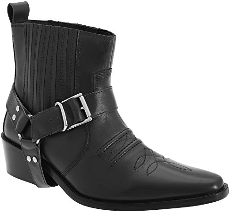 Gringos - Botas de piel al tobillo estilo oeste caña media para hombre
