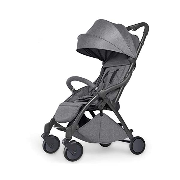 Pushchair 2 In 1 Baby Stroller Travel System,Baby Trolley Newborn Baby Carriage Foldable Can Sit And Lie Down Damping Baby Cart For 1 Month -5 Years Old Ydq TRAVEL ANYWHERE - Airplane travel stroller designed for airplane overhead compartment. It's super compact when folded. With extendable pull rod, it could be dragged anywhere you go with no effort instead of lifting it with your hand. COMFORTABLE SEAT - Lightweight pushchair with reclining backrest enables your baby to rest better in the well-padded seat. The pads on the headrest will help keep your baby's head in position even if it's asleep. The angle of legs support could also be adjusted, providing the most joyful ride for your baby. EASY USAGE - One-hand foldable buggy makes taking your baby for travels or walks a simple pleasure. It could stand on its own so you could take care of your baby with less things to worry about. 1