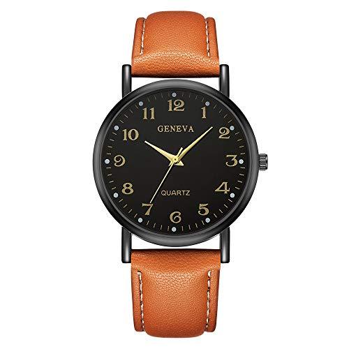 Skang Herren Armbanduhr Rund Analog Quarz Mit Anpassbares Leder Armband Einfach Outdoor Sportuhr Digitaluhr(one Size,C)