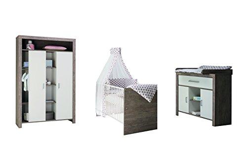 Schardt 11 585 22 00 Commutateur pour chambre d'enfant avec lit bébé, commode à langer et armoire à portes coulissantes Combi, gris