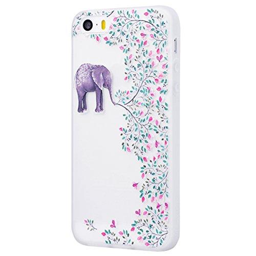 Yokata Cover per iPhone 5S / 5 / SE 3D Sollievo Disegno Custodia Gel Silicone Molle di Flessibile TPU Morbido Case Protezione Backcover Soft Caso Gomma Bumper Protettiva Shell + Penna - Elefante Elefante