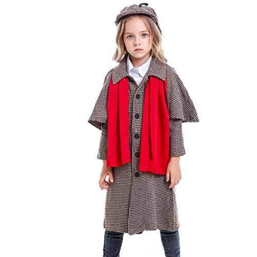 Einfach Kostüm Holmes Sherlock - QWE Große Detektivkostümrolle der Halloween-Kostümfilmfigur, die neutrale Kinderleistungskleidung spielt