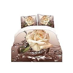 Idea Regalo - HOHAI 4PIECE Golden Rose Set da Letto 3D Fiore Stampe Set Copripiumino Matrimoniale piumone Copertura