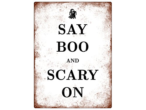 WANDSCHILD Metallschild SAY BOO AND SCARY ON Halloween Dekoration Lustig Spruch