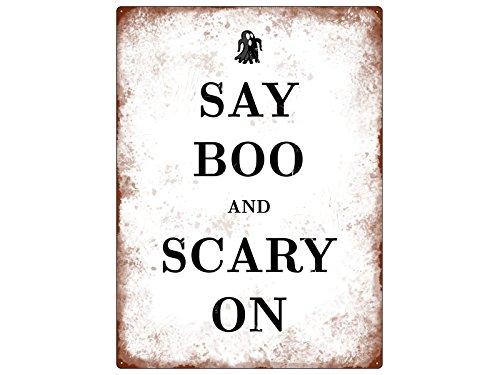 ild SAY BOO AND SCARY ON Halloween Dekoration Lustig Spruch (Scary Halloween-zitate)