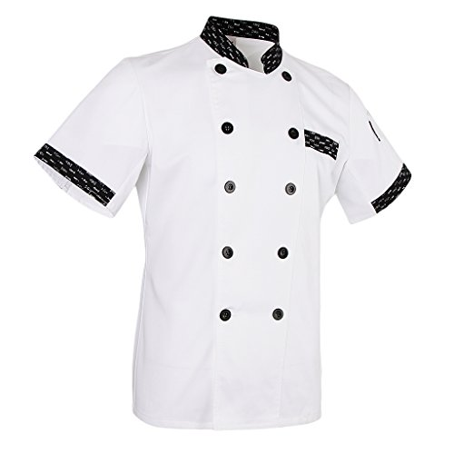 MagiDeal Damen Herren Kochjacke Bäckerjacke Kurzarm Kochkleidung Gastronomie Berufsbekleidung Chef Mantel Jacke Restaurant Cook Uniform - Weiß, M (Chef Uniform Frauen)