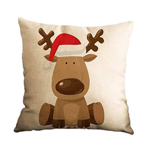 Hshduti 45 cm x 45 cm natale renna santa pupazzo di neve decorativo copertura del cuscino biancheria casa auto camera da letto cuscino arredamento caso 2#