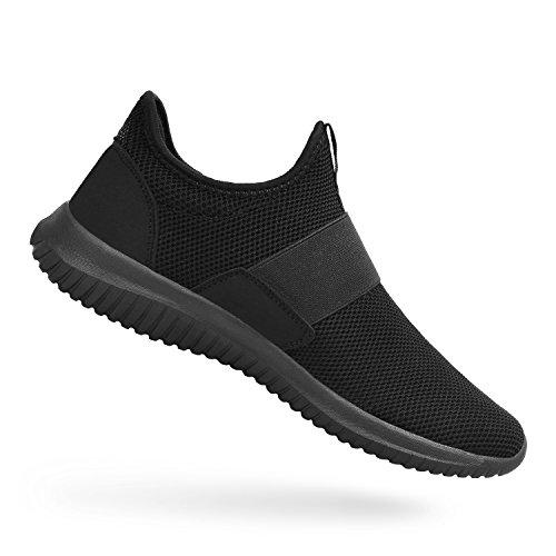 ZOCAVIA Sportschuhe Slip on Leicht Laufschuhe Sneaker Atmungsaktiv Freizeitschuhe Damen Herren Schwarz 37 EU