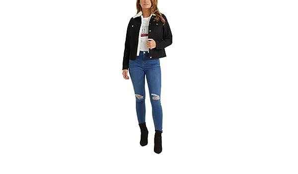 d8877e099fef Lipsy Femme Veste en Jean À Doublure Effet Peau De Mouton Noir EU 32 (UK  4)  Amazon.fr  Vêtements et accessoires