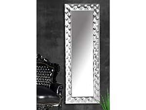 Miroir capitonné Strass simili cuir argent 170x60 cm