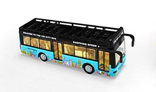 KLEIN Design Schönen Doppeldecker Bus aus Alloy diecast mit vielen Funktionen wie Rückziehmotor, Licht, Ton, Türen und hintere Klappe können geöffnet / geschlossen werde, Farbe blau.