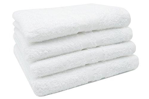 """ZOLLNER® Juego de 4 toallas de lavabo / toallas de mano de rizo, medidas 50x100 cm, color blanco, 100% algodón, del especialista en textiles para hostelería y gastronomía, Serie """"Amalfi"""""""