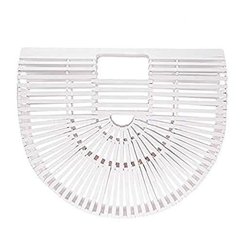 OMAS Weiß Damen Handtasche Handgefertigt Stroh Strandtasche Geflochtene Retro Bambus Handtasche für Sommer Strand Größe:L -