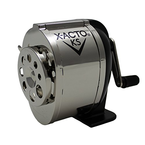X-ACTO Manual Pencil Sharpener, Table- or Wall-Mount, Black/Chrome, Sold as 1 Each