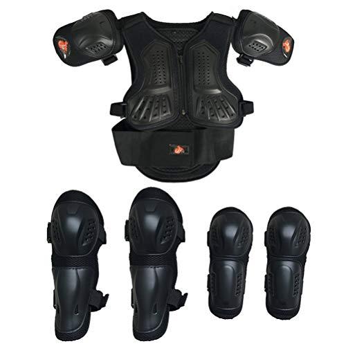 Armor Qtrees Tutina da Moto per Bambini, Protezione per Petto, Schiena, Spalle, Braccia, Gomito, Ginocchia, Motocross, Corsa, Sci, Pattinaggio, 3 Colori, Nero, S