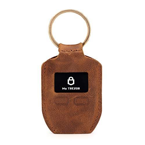 Londo Echtleder Tasche mit Schlüsselring für Trezor One Bitcoin Wallet Unisex (braun)