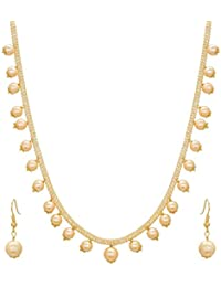 A2 Fashion Gold Plated Pearl Party Wear Necklace Set With Earrings For Women And Girls