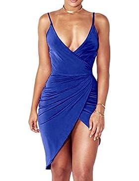 Mujer Verano Moda Colores Lisos Irregular Corta Vestidos de Partido Cóctel Fiesta Lápiz Vestidos Atractivo Cuello...