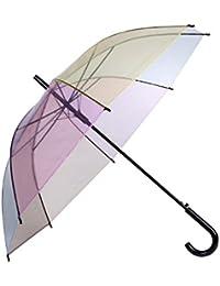 Lonior Paraguas Clásico Transparente Para Mujer Apertura Automática Color del Arco Iris 100% Dinero Garantía de Devolución