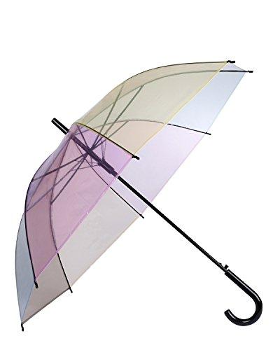 Lonior Automatische Öffnen Stockschirm Durchsichtiger Regenschirm Transparente für Frauen Regenbogen Farbe Transparent Schirm