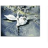 DIY Cisne Blanco Decoración De La Habitación Pintura Para Sala De Estar De Aves Cuadros Pintura