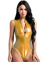 8db4f810bf7 MSemis Women s Wet Look PVC Leather Mesh Patchwork High Cut Bodysuit Teddy  Leotard