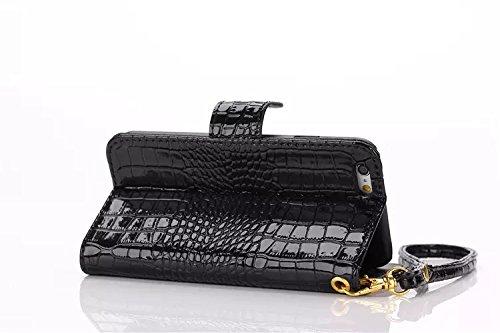 EKINHUI Case Cover Krokodil Pattern PU Ledertasche, Horizontale Flip Stand Folio Wallet Holster Case Cover mit Lanyard & Card Slots für iPhone 6 Plus & 6s Plus ( Color : Red ) Black