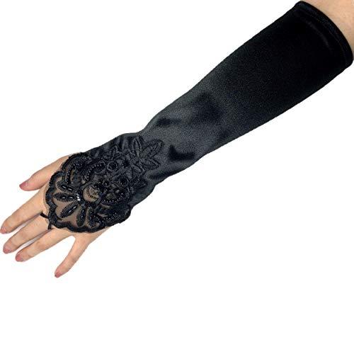 PANAX Edle Damen Handschuhe aus elastischem Satin mit Spitze und Perlen - Stulpen Schwarz in Einheitsgröße für Frauen, Hochzeit, Oper, Ball, Fasching, Karneval, Tanzen, Halloween - Sommer Ball Kostüm