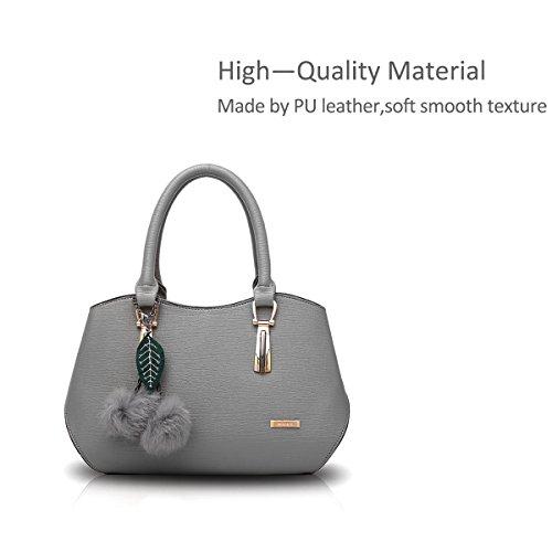 NICOLE&DORIS Le donne elegante maniglia superiore della borsa del messaggero della borsa della spalla del Tote casuale del lavoro Satchel Zipper Nero Grigio scuro