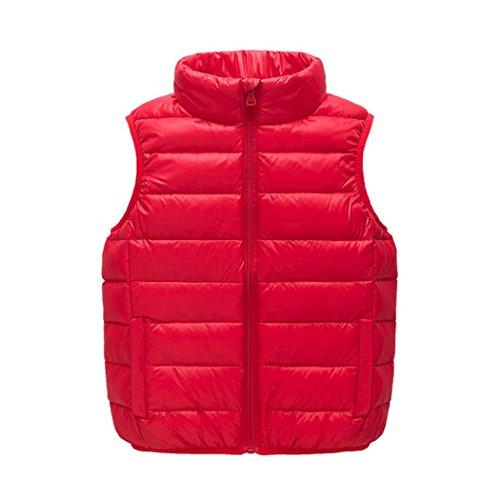 Westen Winter Mäntel Warm Jungen Solide Jacken SOMESUN Jungen Bekleidung Mädchen Weste (4 Jahre, rot)