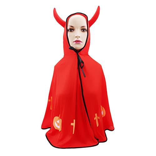 Botreelife Halloween Kinder Umhang Teufel Cosplay Nette Jungen Mädchen Kostüme Halloween Party Anzüge - Roten Anzug Teufel Kostüm