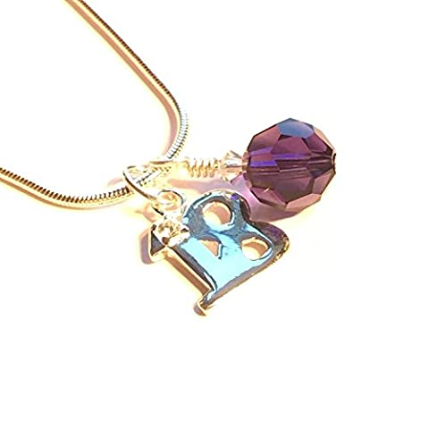 Happy 18th Birthday Sterling Silver Pendant with Cubic Zirconia inset and Sparkling Swarovski Elements (Purple