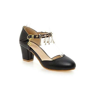 AllhqFashion Women's Round Closed Toe Buckle Pu Solid Kitten Heels Pumps Shoes, Black, 33