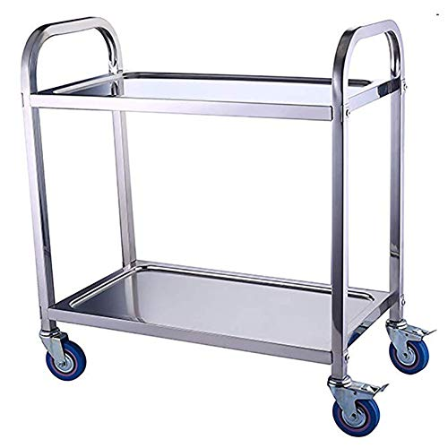Edelstahl-Arbeitstisch, 4-Rollen-Rollwagen, großer Servierwagen mit Feststellrädern für Küchenhotels, Restaurants, Pflegeheime