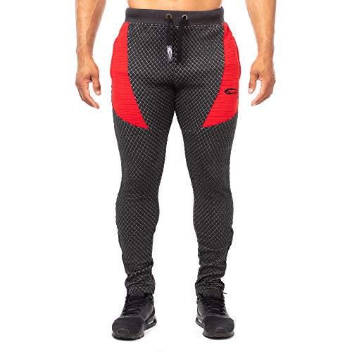 SMILODOX Herren Jogginghose Limited 3.0 | Trainingshose für Sport Fitness Gym | Slim Fit | Sporthose - Jogger Pants - Sweatpants Hosen - Freizeithose Lang, Größe:S, Farbe:Anthrazit/Rot