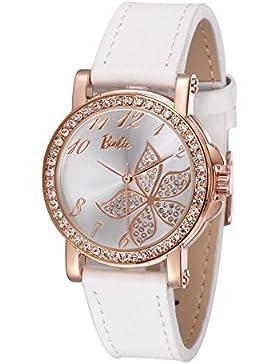 Barbie Damenuhr Leder Armband Kupfer Armbanduhr Quarz Analog Uhr Schwarz #W50564L.01A