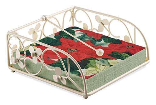 Weihnachtsstern creme rot grün 20x Papier-Servietten, 3-lagig & Floral Vine Serviettenhalter Set -