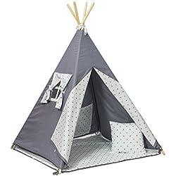 La tente de tipi teepee pour les enfants, cabane, ensemble:4 pieces (dessin: etoilles gris-turqouise)