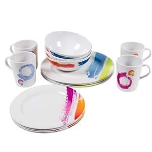 Camp 4 91714 Set de vaisselle de camping pour 4 personnes Sanremo 16 pièces (Coloré)