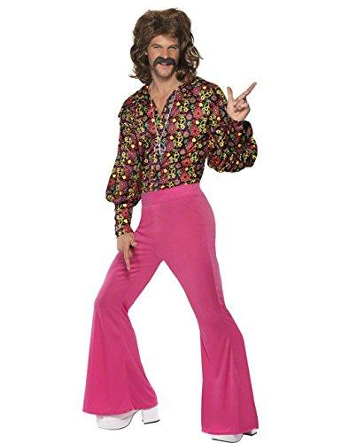 60er 70er Hippie Kostüm Peace blau pink gelb M