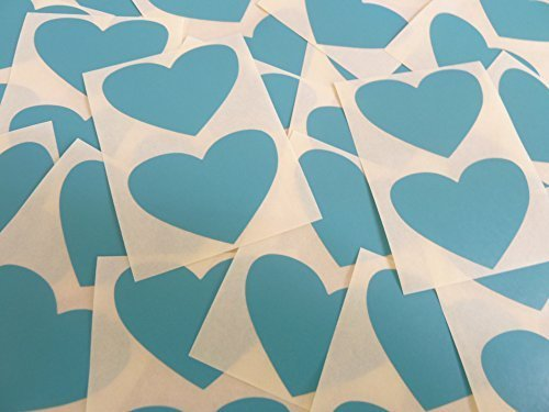 50x37mm Turquesa Con Forma De Corazón Etiquetas, 40 auta-Adhesivo Código De Color Adhesivos, adhesivo Corazones para Manualidades y Decoración