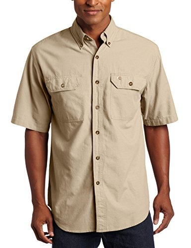 Carhartt .s200.256.s007 Fort Solid kurzärmeliges Shirt, Farbe: Dark Tan Chambray, Größe: X-Large (Baumwolle Shirt Tan)