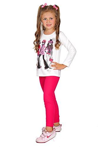 FUTURO FASHION® - Mädchen Leggings aus Baumwolle - warm & dick - lang - einfarbig - 2-13 Jahre - Pink - 13 Jahre