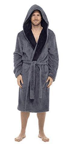 Hommes à Capuche DE Luxe Animal Singe Loup Singe blottir Peignoir Robe de Chambre Polaire - Gris blottir, XXX-Larg