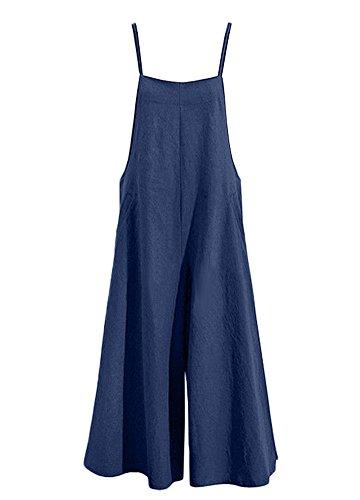 Romacci Damen Baumwolle Wide Leg Jumpsuit Spaghetti Strap Einfarbig Ärmellos Strappy Romper Länge Overalls Strap Jumpsuit