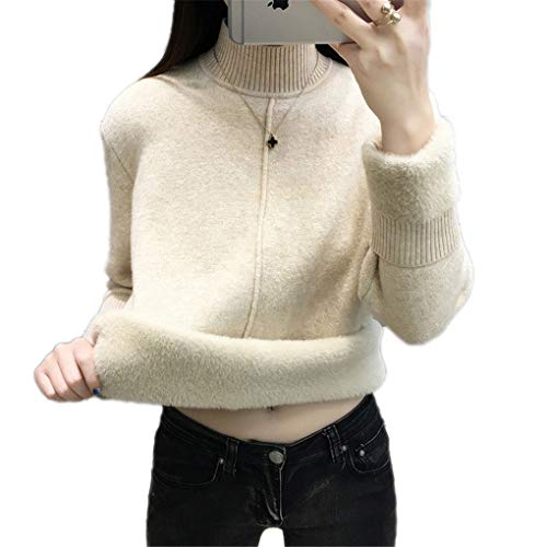 Kabel Stricken Pullover Muster (Turtleneckstrickjacke Frauen-Winter-warme Starke Velvet Stricken Pullover Jumper Light Khaki XL)
