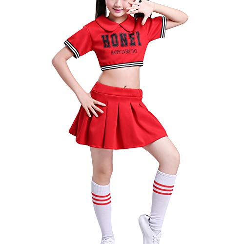 Huatime Cheerleader Kinderkostüm Karneval Fasching - Kinder Kostüm Plissee Schule Mädchen Uniform Party Outfit Junge Performance Jazz Tanz Street Dance (Schule Jungen Und Mädchen Kostüm)