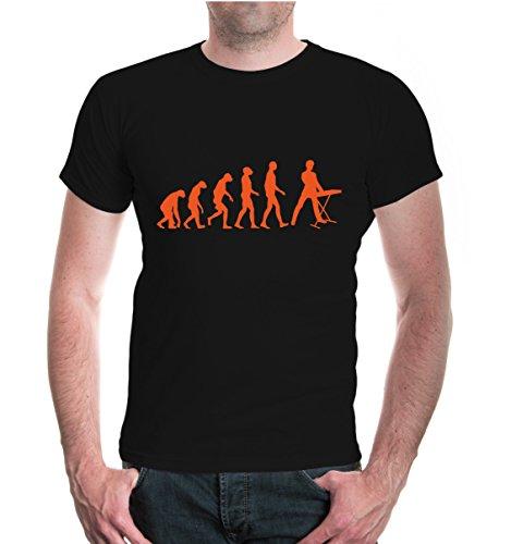 buXsbaum® Herren Unisex Kurzarm T-Shirt bedruckt The Evolution of keyboard | Tasteninstrument Piano | S black-orange Schwarz
